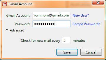 Capture d'écran - Digsby, connexion à un compte Gmail