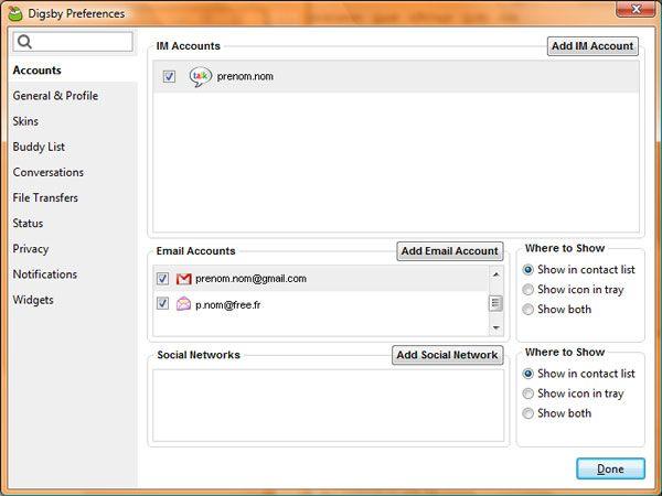 Capture d'écran - Digsby, liste des comptes e-mail