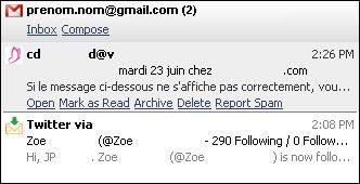 Capture d'écran - Digsby, aperçu d'un mail en provenance de Gmail