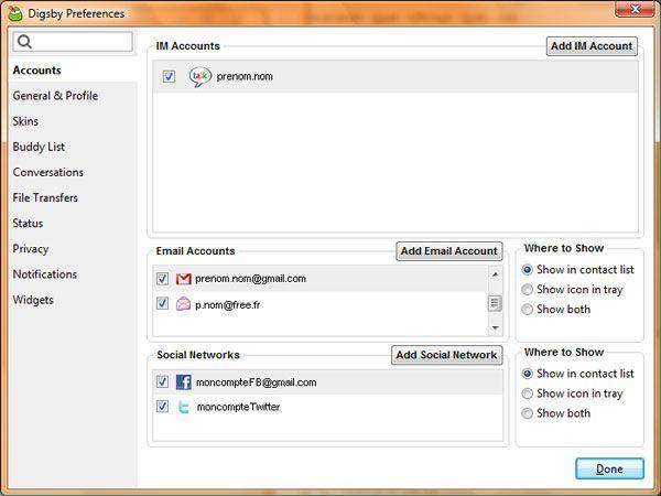 Capture d'écran - Digsby, liste des comptes de réseaux sociaux