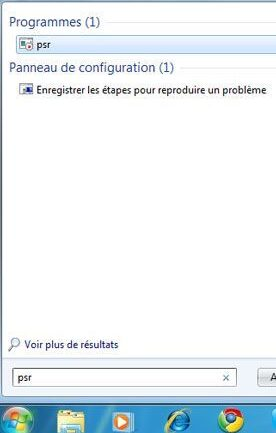 Capture d'écran - Menu Démarrer, recherche de l'outil de bug shooting de Windows 7