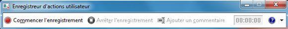 Capture d'écran - Barre d'outils de l'Enregistreur d'actions utilisateur