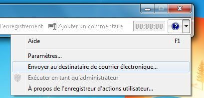 Capture d'écran - Envoi de la capture d'étapes de bug sous Windows 7
