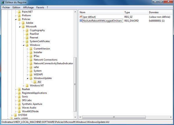Capture d'écran - Editeur du registre, ajout d'une clé pour Windows Update