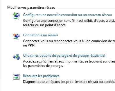 Capture d'écran - Création d'un réseau ad hoc via le Centre Réseau et partage