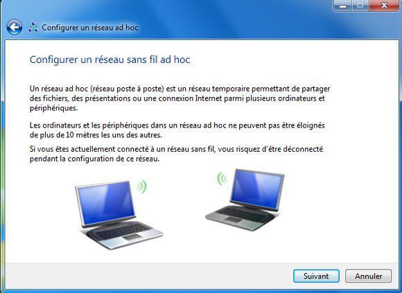 Capture d'écran - Informations relatives à la création d'un réseau poste à poste
