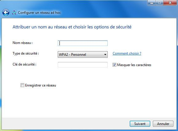 Capture d'écran - Configuration de la sécurité du réseau ad hoc