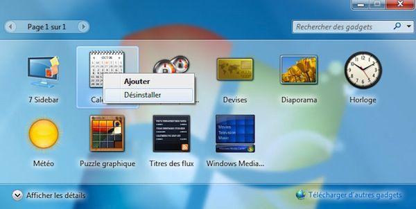 Capture d'écran - Fenêtre des gadgets Windows