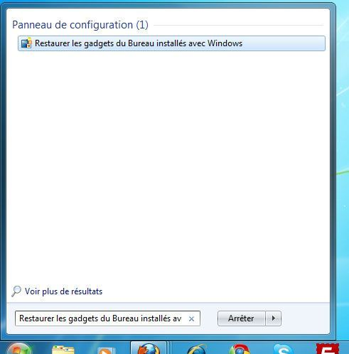 Capture d'écran - Menu Démarrer, restauration des widgets Windows