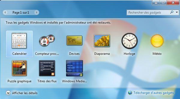 Capture d'écran - Les gadgets Windows sont restaurés avec succès