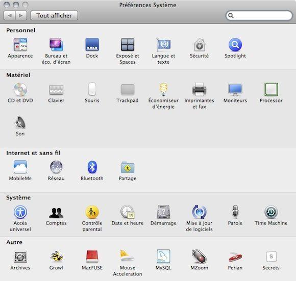 Capture d'écran - MacOS X, préférences systèmes de démarrage