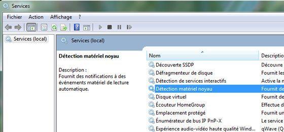 Capture d'écran - Recherche du service Détection matériel noyau