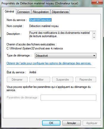 Capture d'écran - Désactivation du service Détection matériel noyau