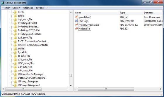 Capture d'écran - Hack n°2 du registre pour le menu Envoyer vers