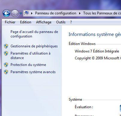 Capture d'écran - Paramètres systèmes avancés, Windows 7