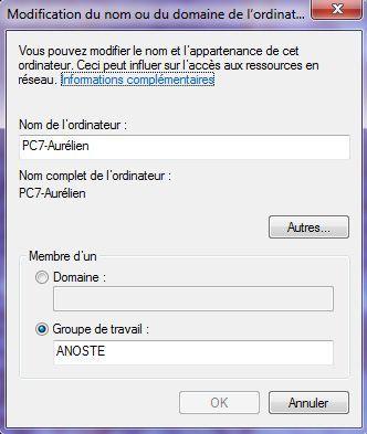 Capture d'écran - Indiquez le nom de votre PC sous Windows 7