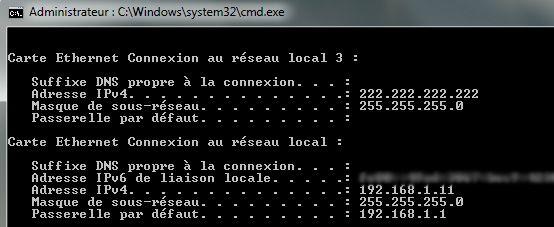 Capture d'écran - Commande ipconfig
