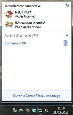 Capture d'écran - Accès rapide au Centre Réseau et partage