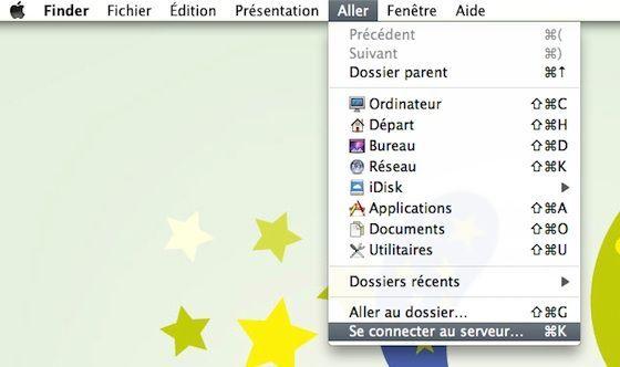 Capture d'écran - Finder et l'outil de connexion à un serveur