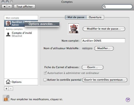 Capture d'écran - Accès aux options avancées de Comptes
