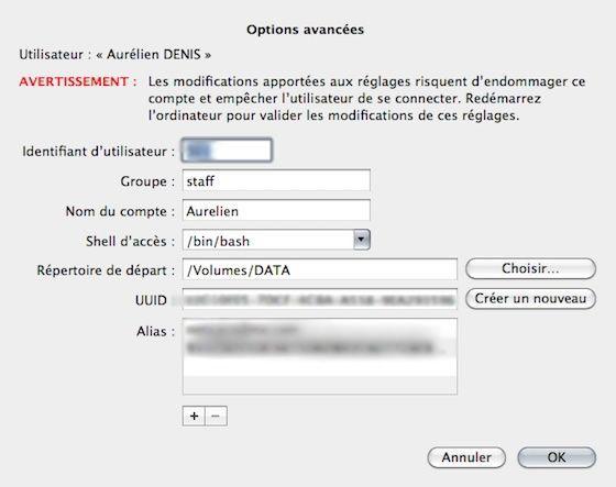 Capture d'écran - Choix de la partition utilisateur sous MacOS X