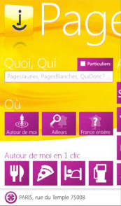 Pages Jaunes pour Windows Phone 7