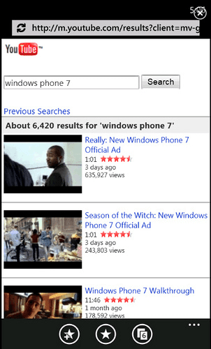 YouTube pour Windows Phone 7