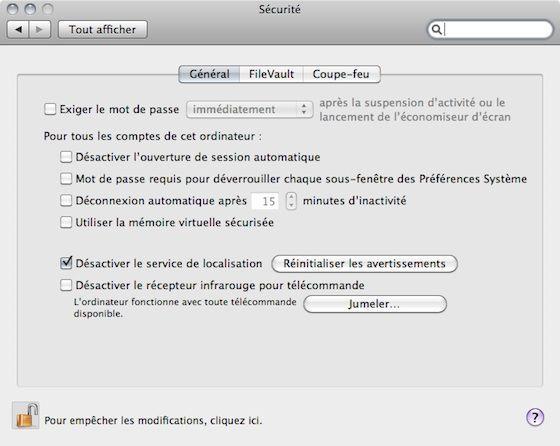 Capture d'écran - Préférences Système, désactivation de la déconnexion automatique