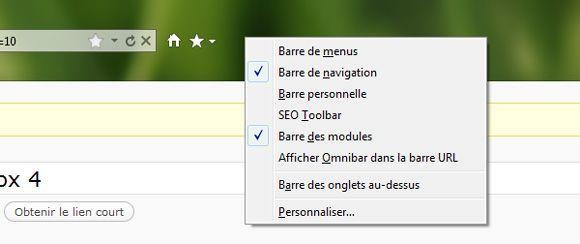 Capture d'écran - Mozilla Firefox 4, personnalisation de la barre d'outils