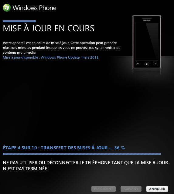Capture d'écran - Mise à jour NoDo Windows Phone 7 en cours