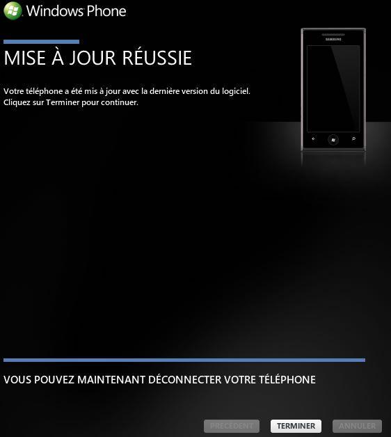 Capture d'écran - Mise à jour Nodo pour Windows Phone 7 terminée