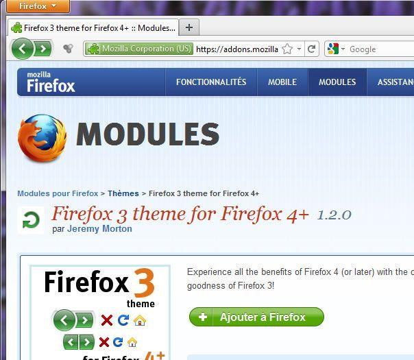 Firefox 3 theme, thème visuel pour Firefox 4