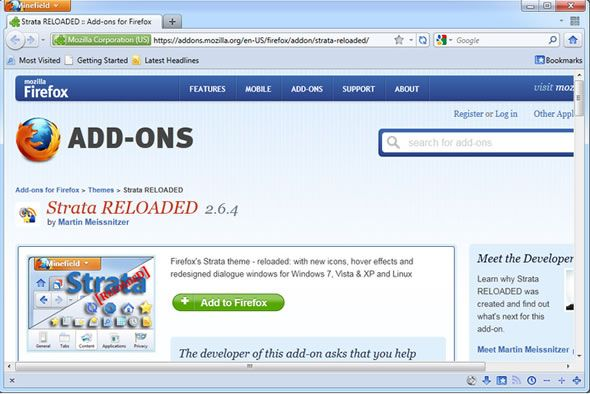 Strata reloaded, thème visuel pour Firefox 4