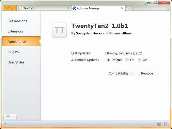 TwentyTen 2, thème visuel pour Firefox 4