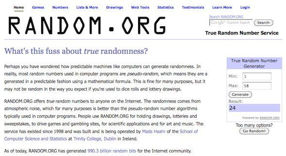 Capture d'écran du tirage au sort sur Random.org pour le Creative D200
