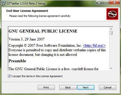 Capture d'écran - Installation de QTTabBar, étape n°2