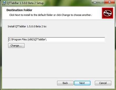 Capture d'écran - Installation de QTTaBar, étape n°3