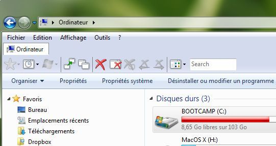 Capture d'écran - QTTabBar en cours d'utilisation avec affichage par défaut