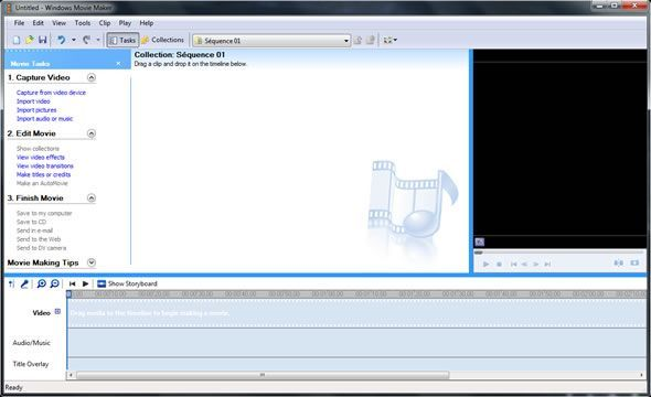 Capture d'écran - Windows Movie Maker 2.6 portable sous Windows 7