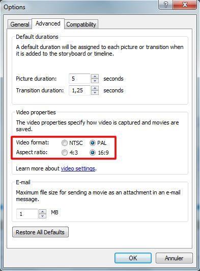 Capture d'écran - Paramètres vidéos avancés de Movie Maker 2.6