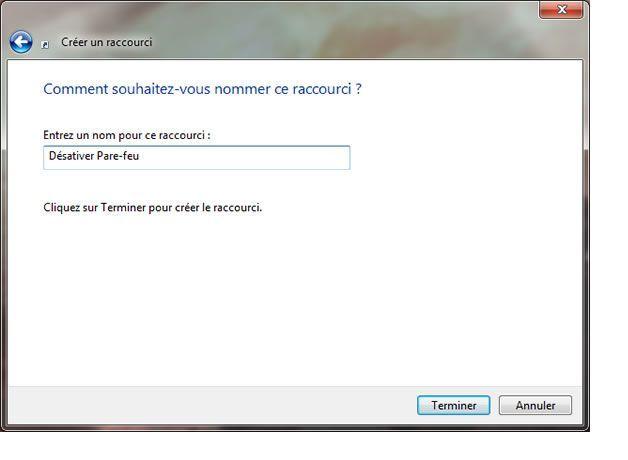Capture d'écran - Assistant de création d'un raccourci sous Windows 7