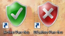 Capture d'écran - Raccourcis Activer/Désactiver Pare-feu sous Windows 7
