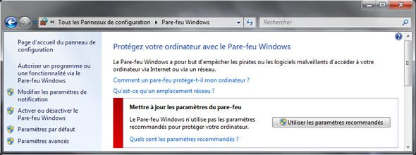 Capture d'écran - Pare-feu de Windows 7