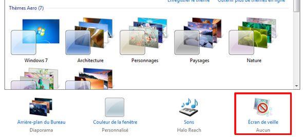 Capture d'écran - Centre de Personnalisation sous Windows 7