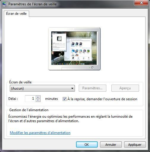 Verrouiller sa session automatiquement au bout de x for Fenetre windows 7