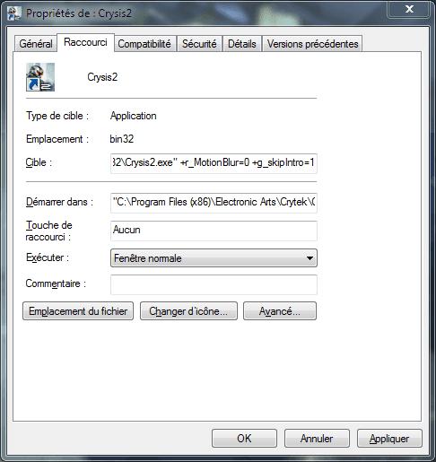 Capture d'écran - Propriétés du raccourci Crysis 2 du Bureau, onglet Raccourci