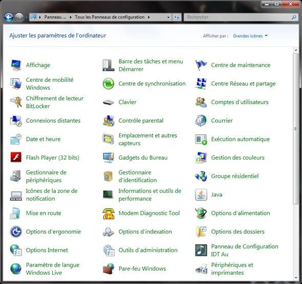 Capture d'écran - Panneau de configuration de Windows 7