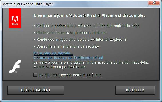 Capture d'écran - Popup des mises à jour automatique de Flash Player