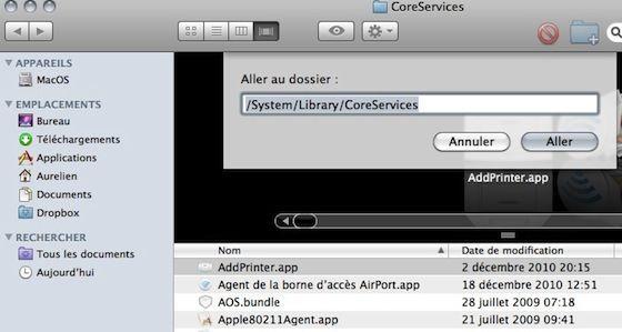 Capture d'écran - Finder, localisation du dossier de l'application Partage d'écran