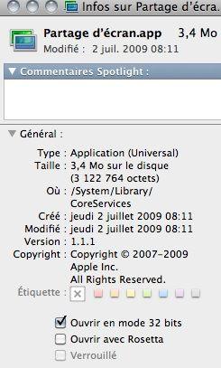 Capture d'écran - Finder, information de l'application Partage d'écran.app
